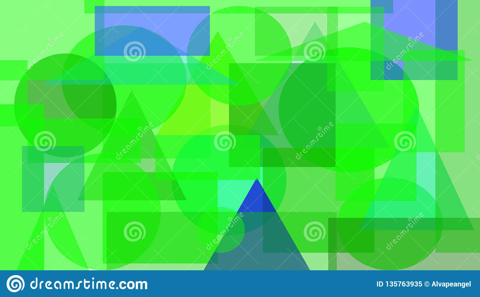 Digital abstrakt design av gröna och blåa former