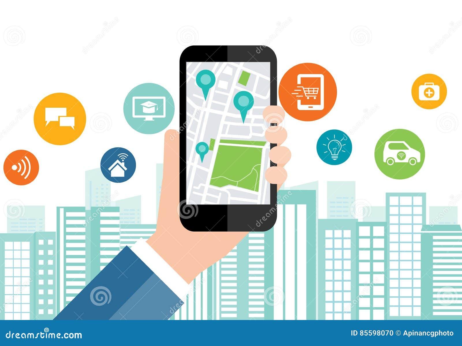 Digital affär och smart stadsanslutning för samkväm på mobil