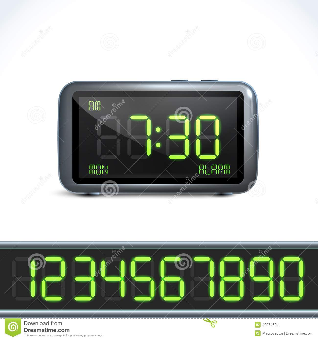 Digital Alarm Clock Numbers Stock Vector Image 40974624