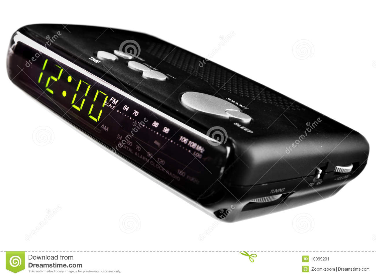 digital alarm clock radio stock image image 10099201. Black Bedroom Furniture Sets. Home Design Ideas