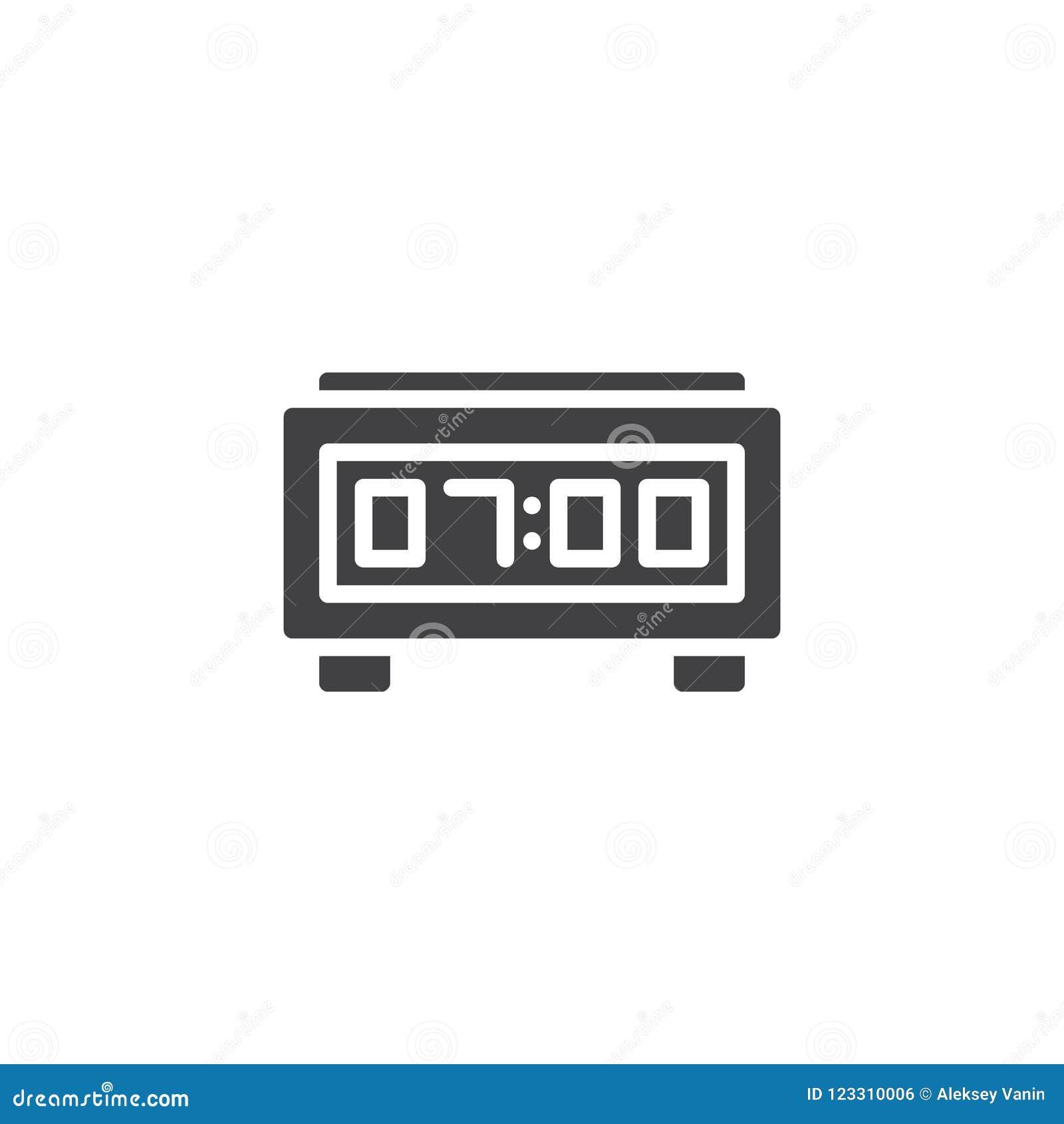 Digital Alarm Clock Vector Icon Stock Vector - Illustration of