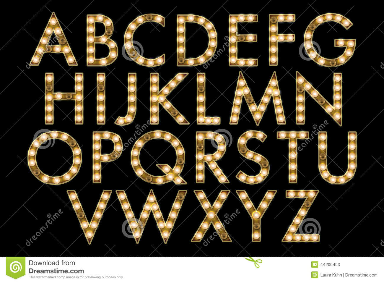 Digital Alphabet Marquee Style Scrapbooking Element