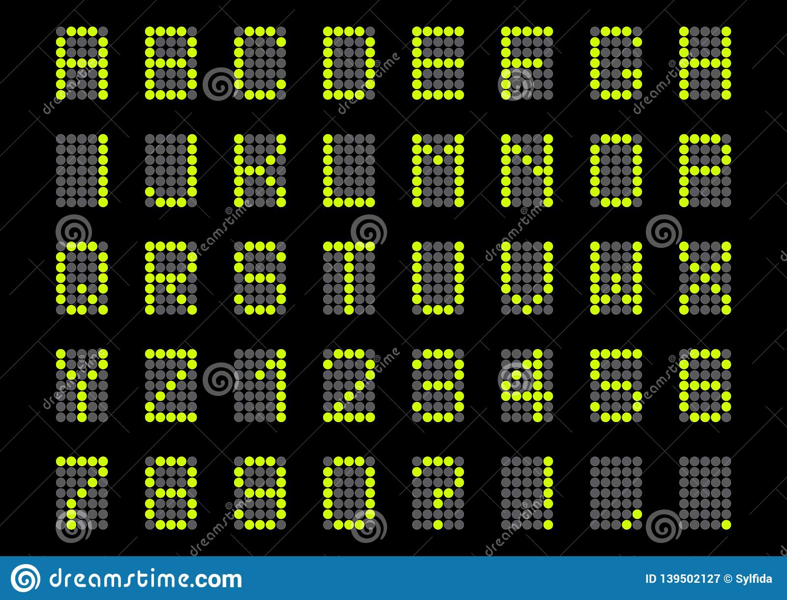 Digital alphabet and numbers. Vector illustration