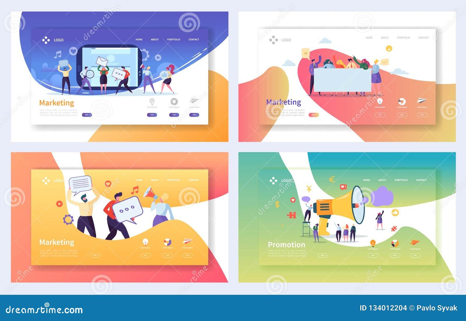 Digital annonçant l ensemble de commercialisation de page d atterrissage Concept social de communication de caractère d affaires