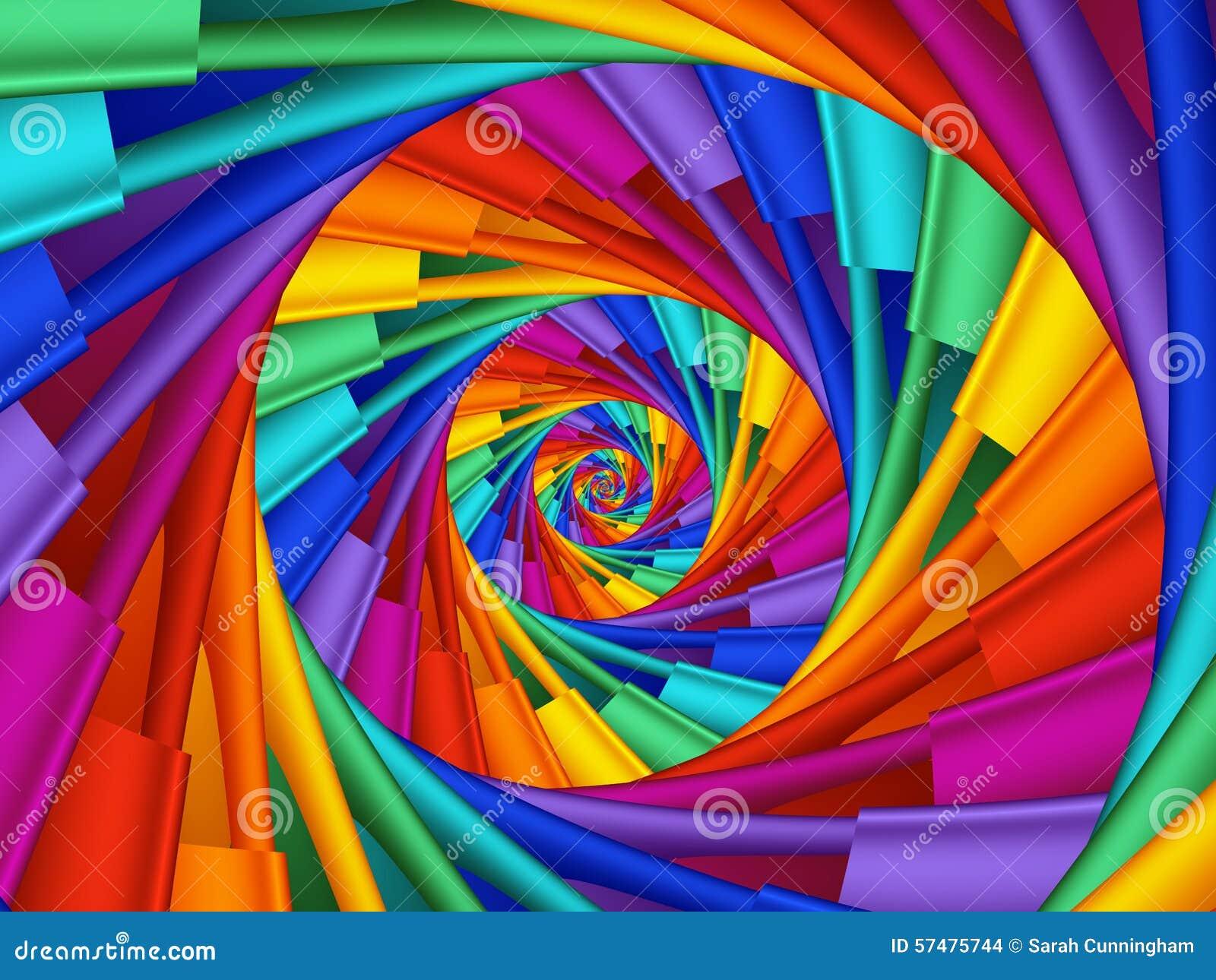 Digital Art Abstract Rainbow 3d Spiral Background Stock