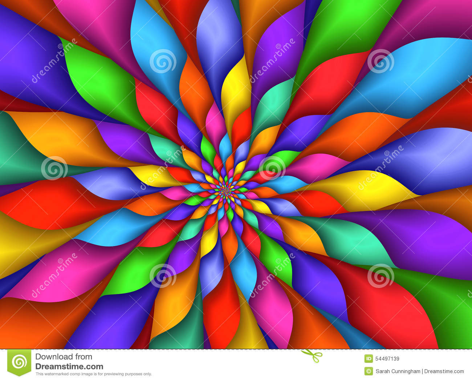Digital Art Abstract Rainbow Petals Spiral Background