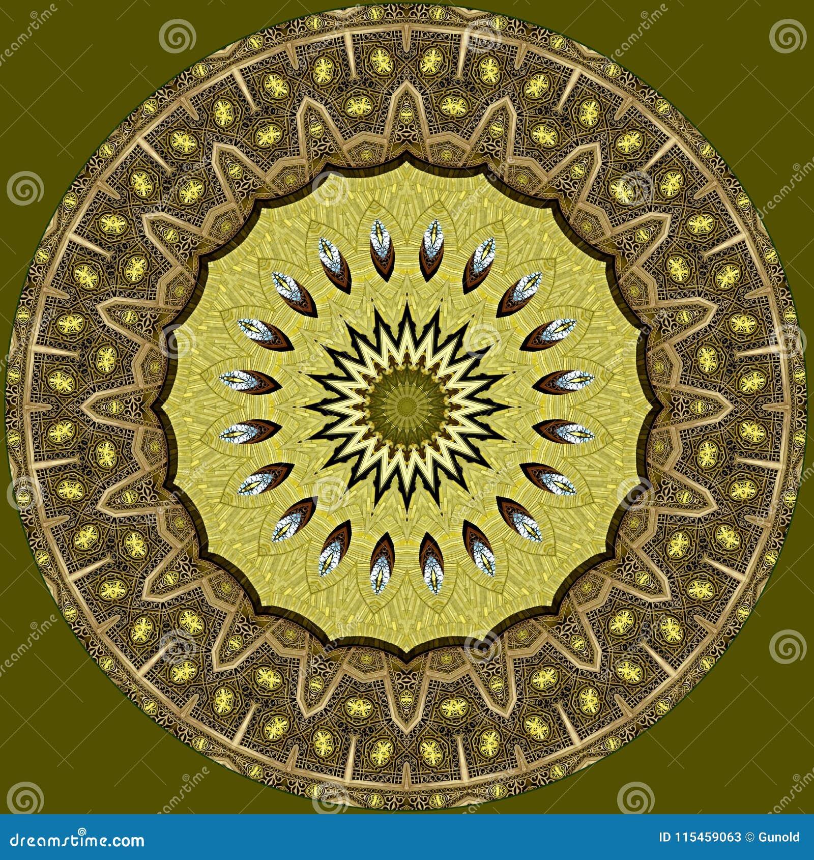 Oriental Arabic Pattern On Green Background Stock Illustration ...