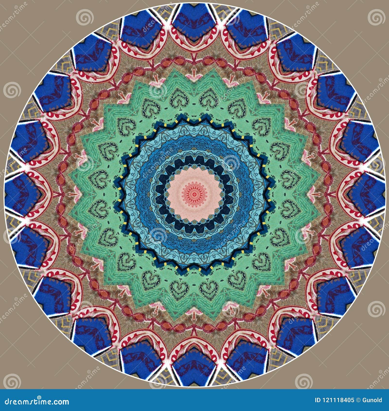 Digital art design, clothes in a bazaar seen through kaleidoscope