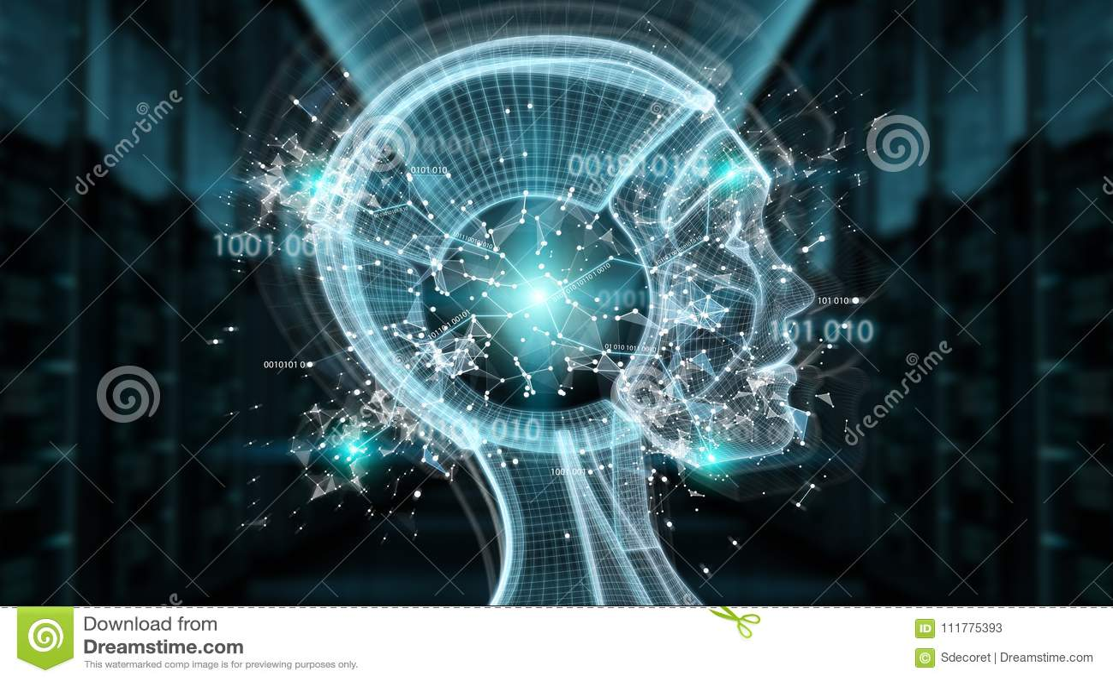 Digital artificial intelligence cyborg interface 3D rendering
