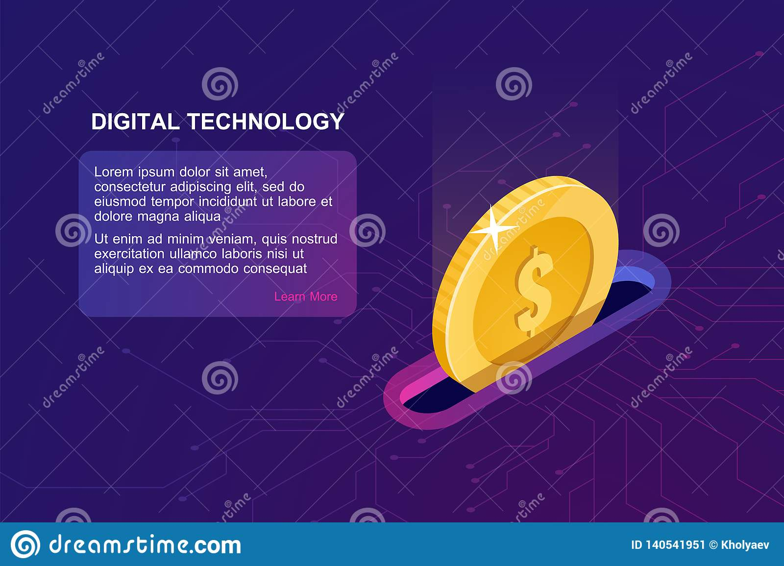 Digital banking online, isometric icon of falling coin, electronic internet purse, financial management online service