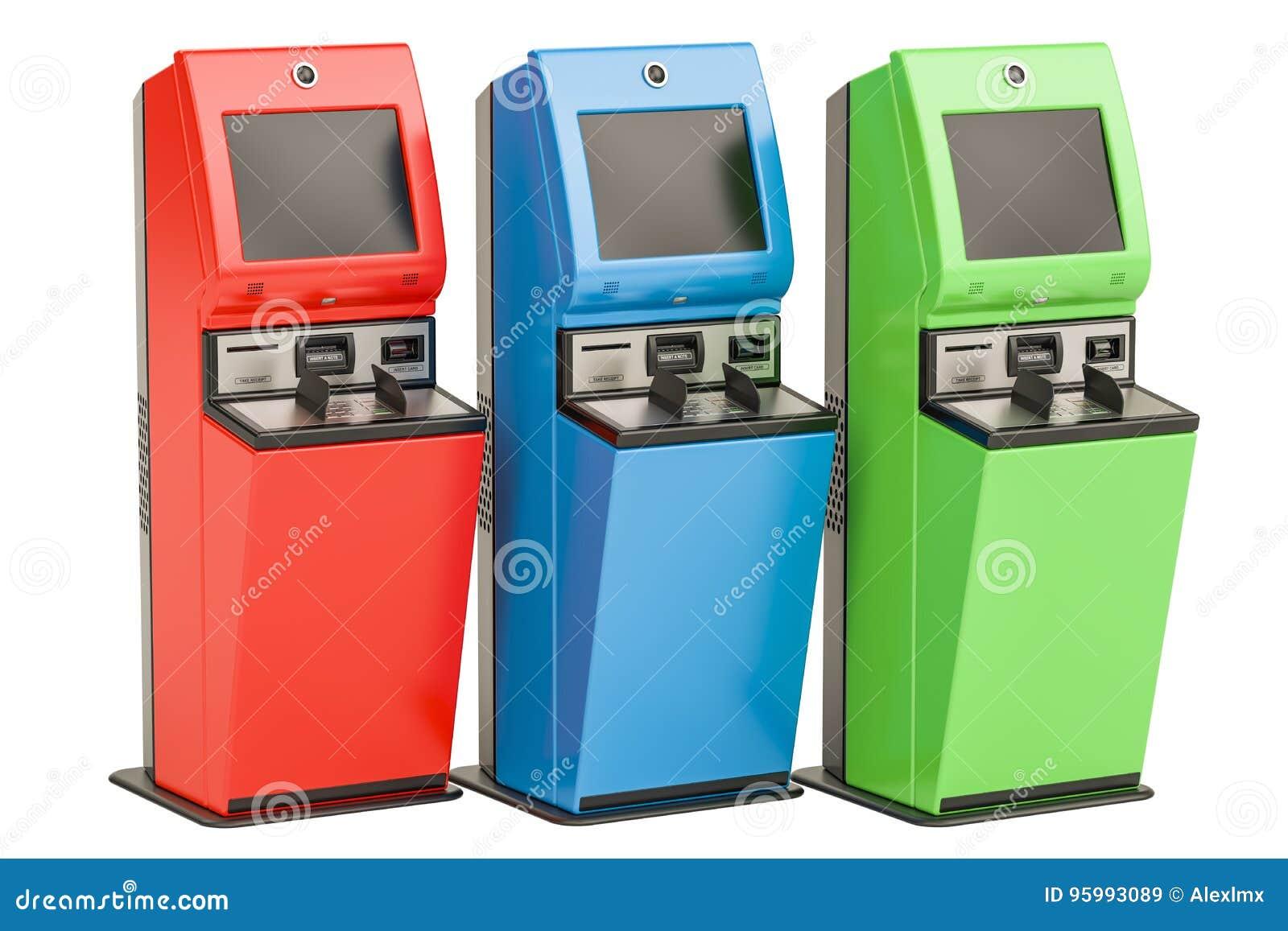 Digital-Bildschirme mit Berührungseingabe Finanzdienstleistungskioske, 3D ren