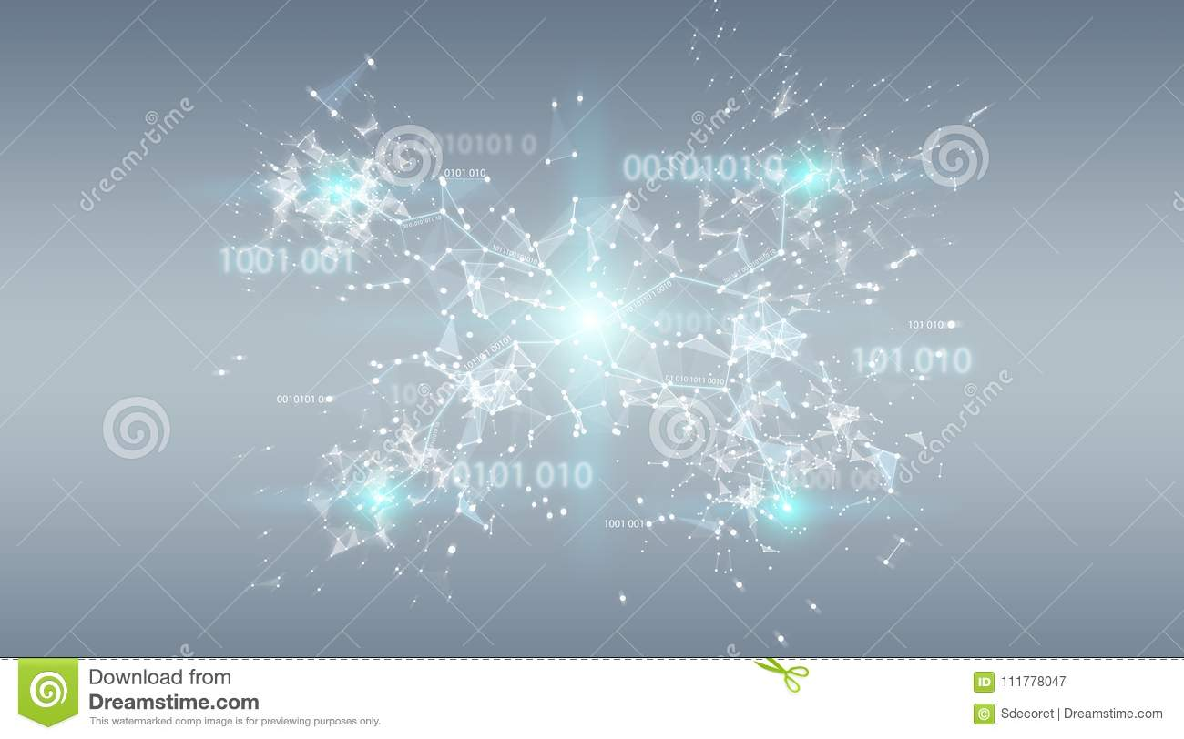 Digital binary code connection network background 3D rendering