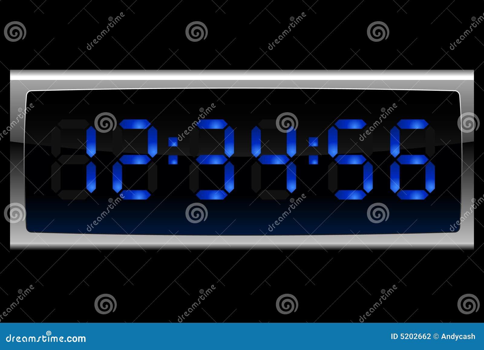 Digital blå klocka