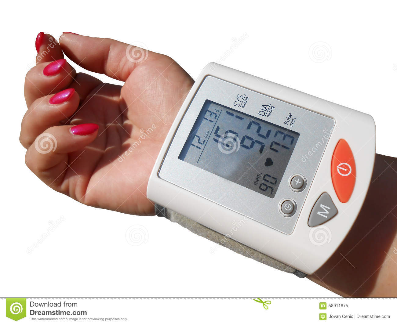 Digital Blood Preasure Monitor Stock Image - Image of white