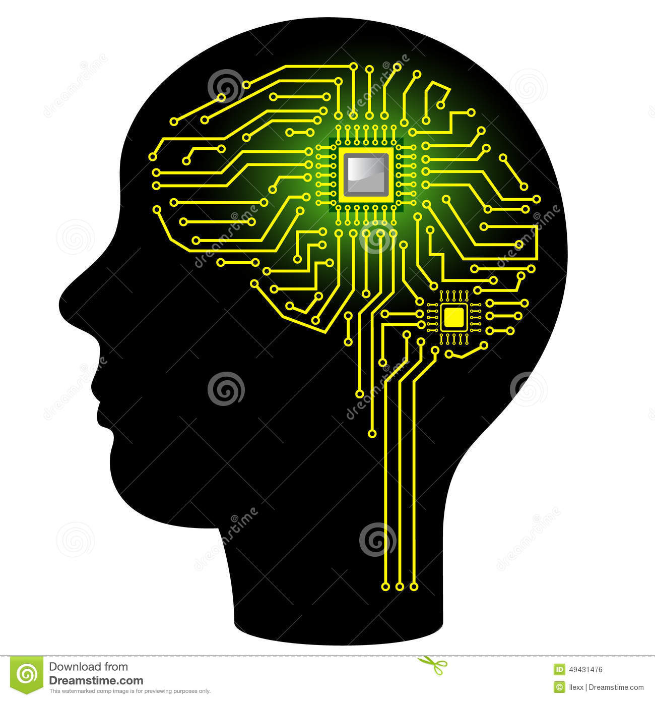 Circuit Brain Reusable : Digital brain stock illustration image of chip