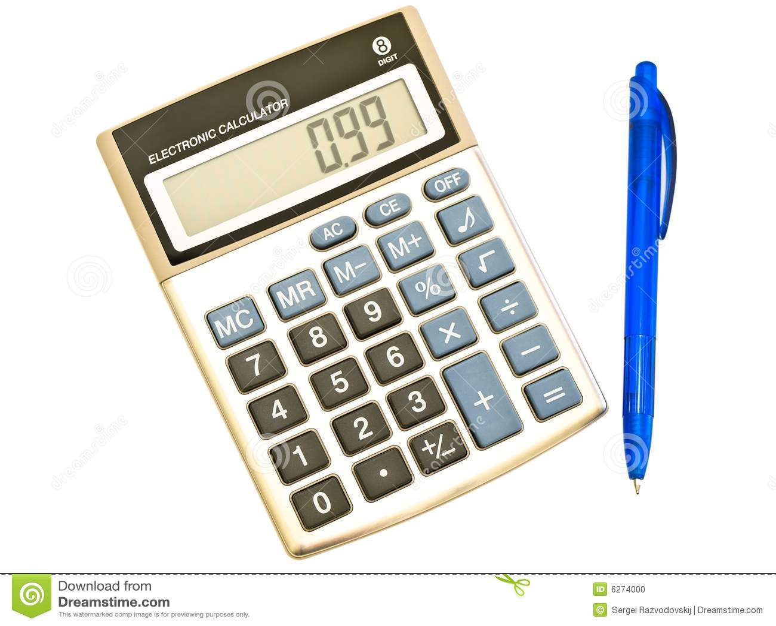 Digital Calculator And Ballpoint Pen Stock Photo Image