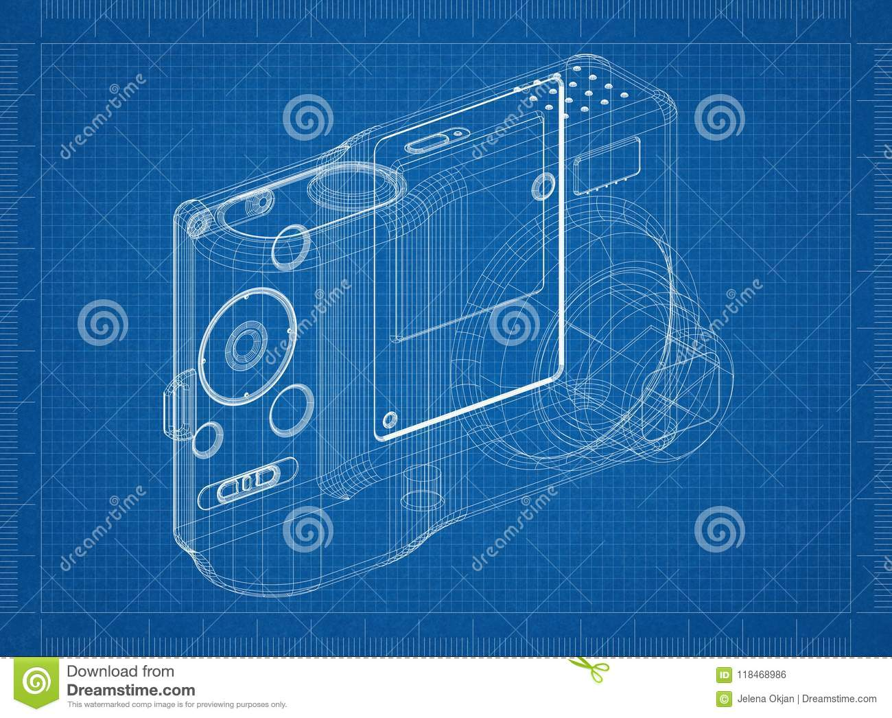 Digital camera architect blueprint isolated stock illustration download comp malvernweather Choice Image