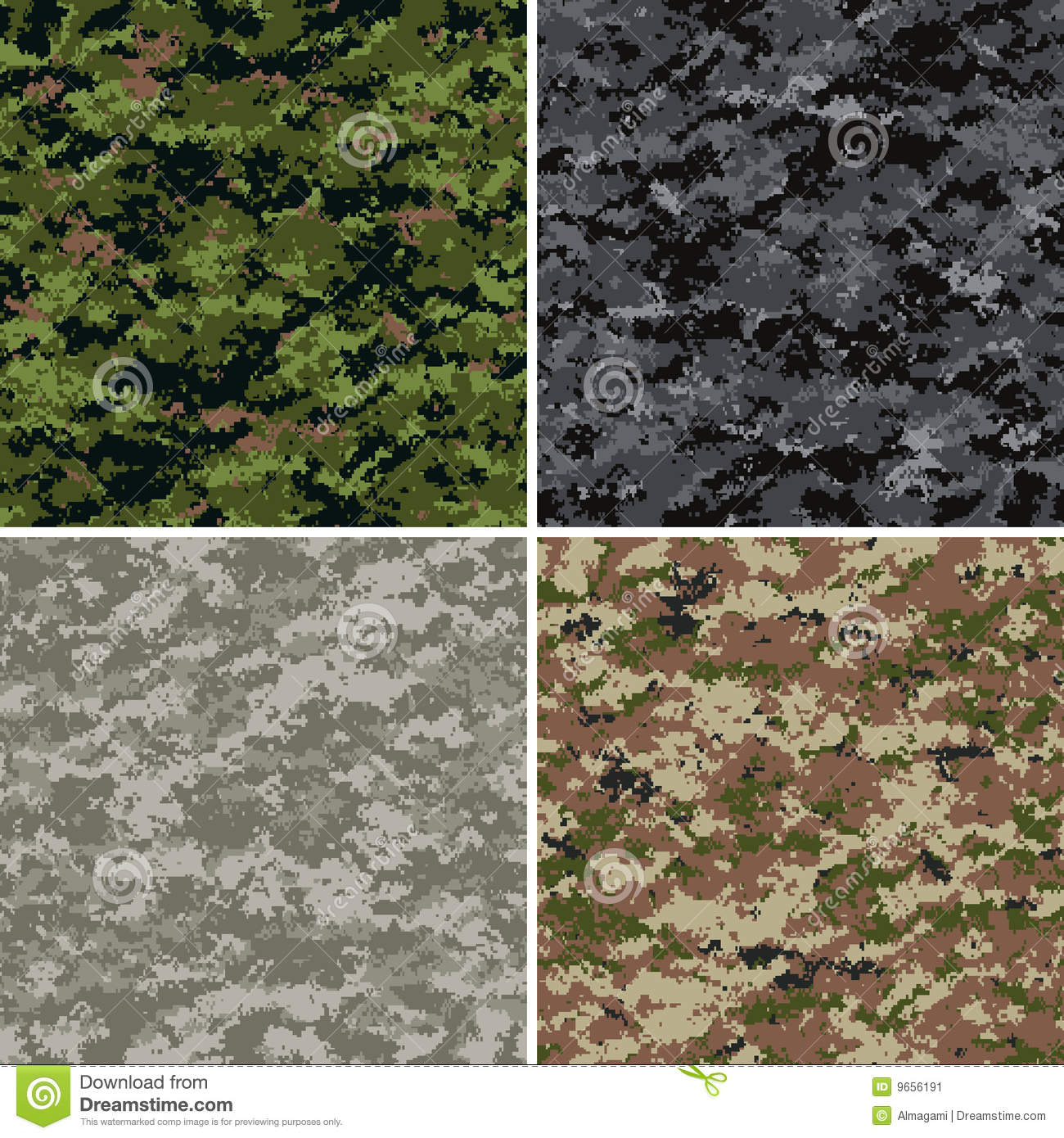 Digital Camouflage Patterns Stock Vector - Illustration of