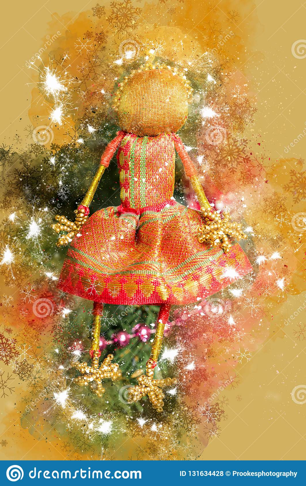 Christmas In England Traditions.Digital Christmas Watercolour Photograph Combined