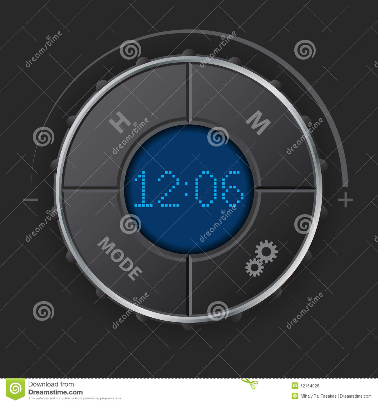 Digital Clock With Blue Lcd Stock Illustration - Illustration of ...