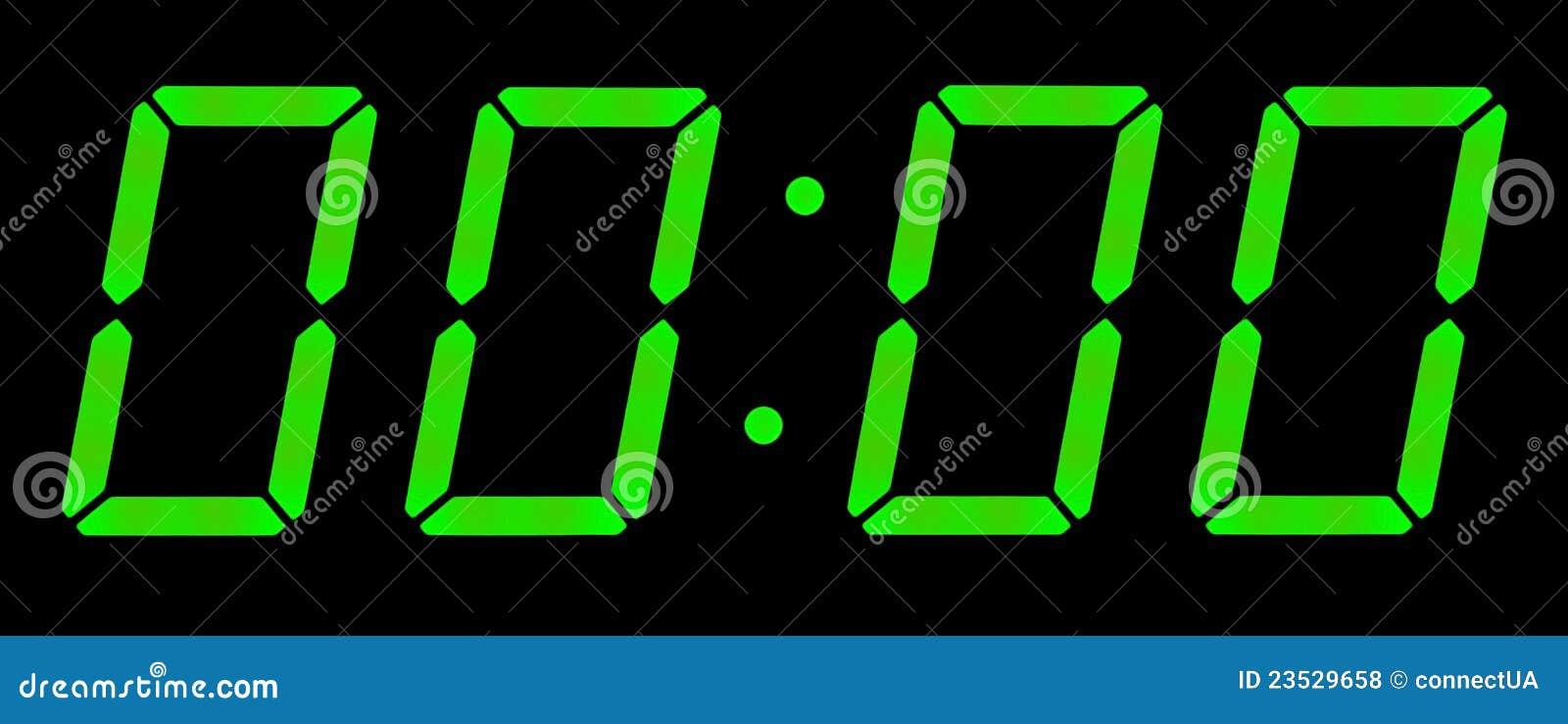 Digital clock show zero hours zero minutes. Isolated on the black ...