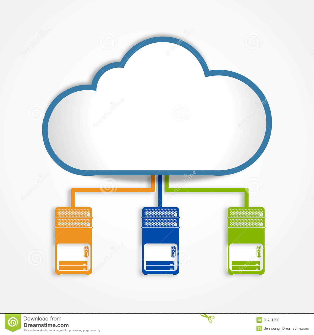 Stock photo digital cloud connect server