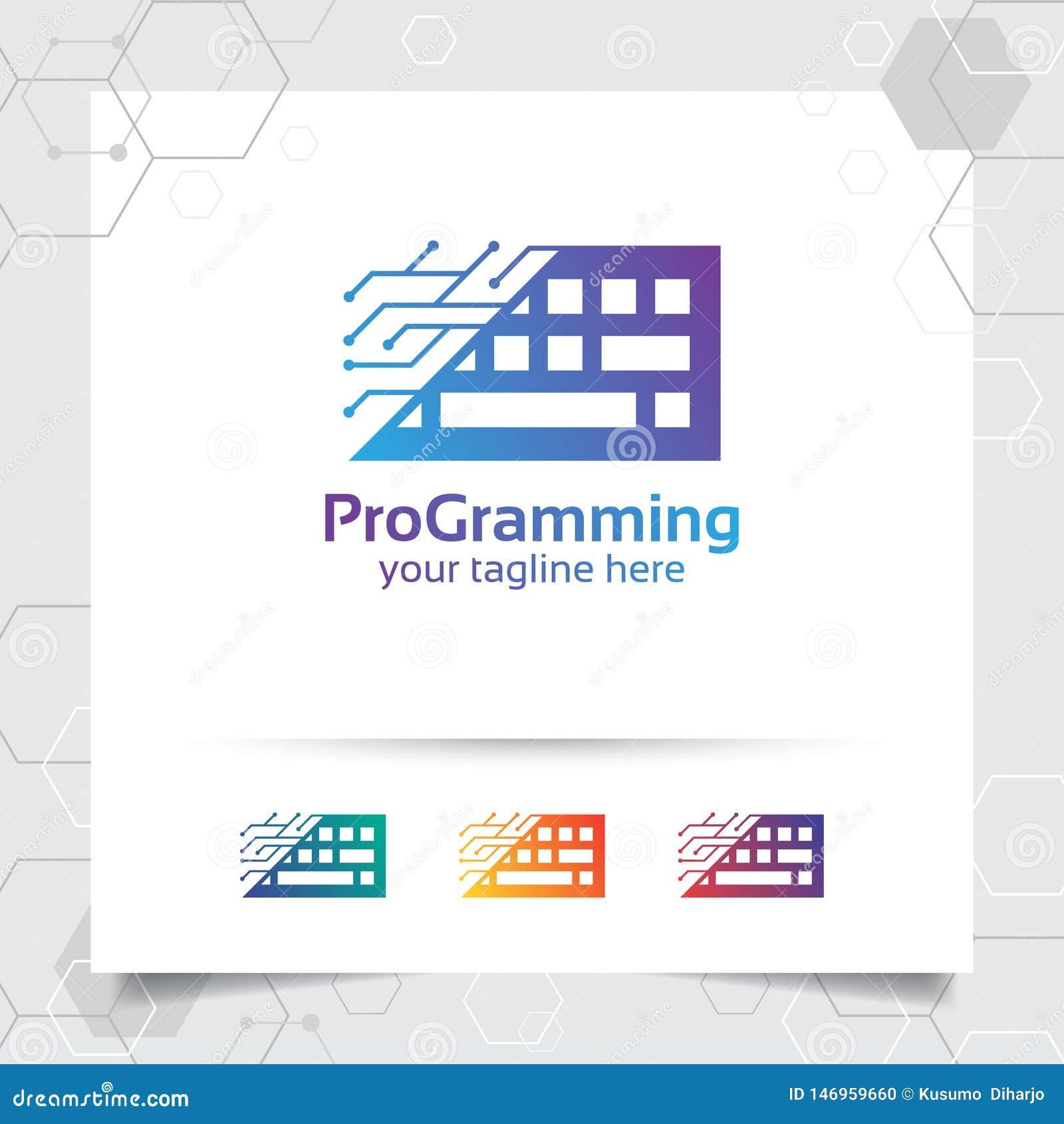 Digital coding logo vector design with concept of keyboard icon and programmer illustration for web development, UI/UX, desktop