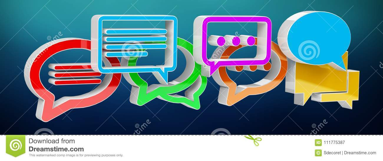 Digital colorful 3D rendering conversation icons
