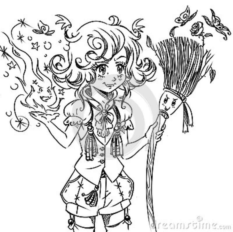 Digital Coloring Book Illustration With Funny Girl Witch Stock