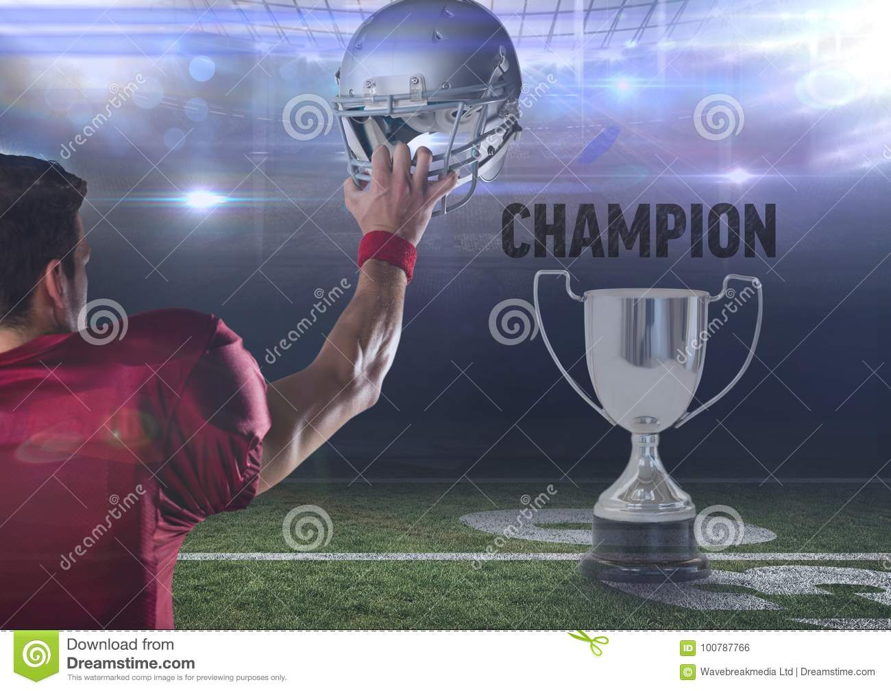 american football player holding up helmet with throphy and text