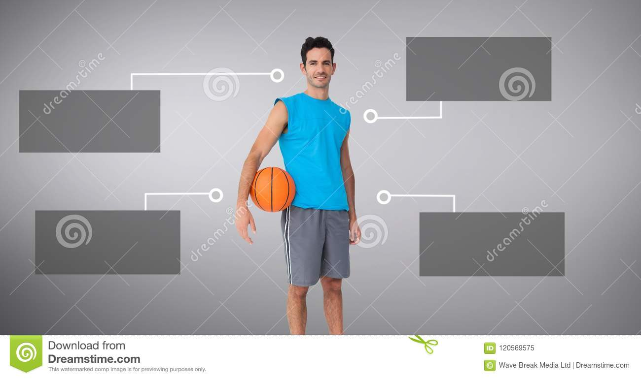 Basketball man with blank infographic chart panels