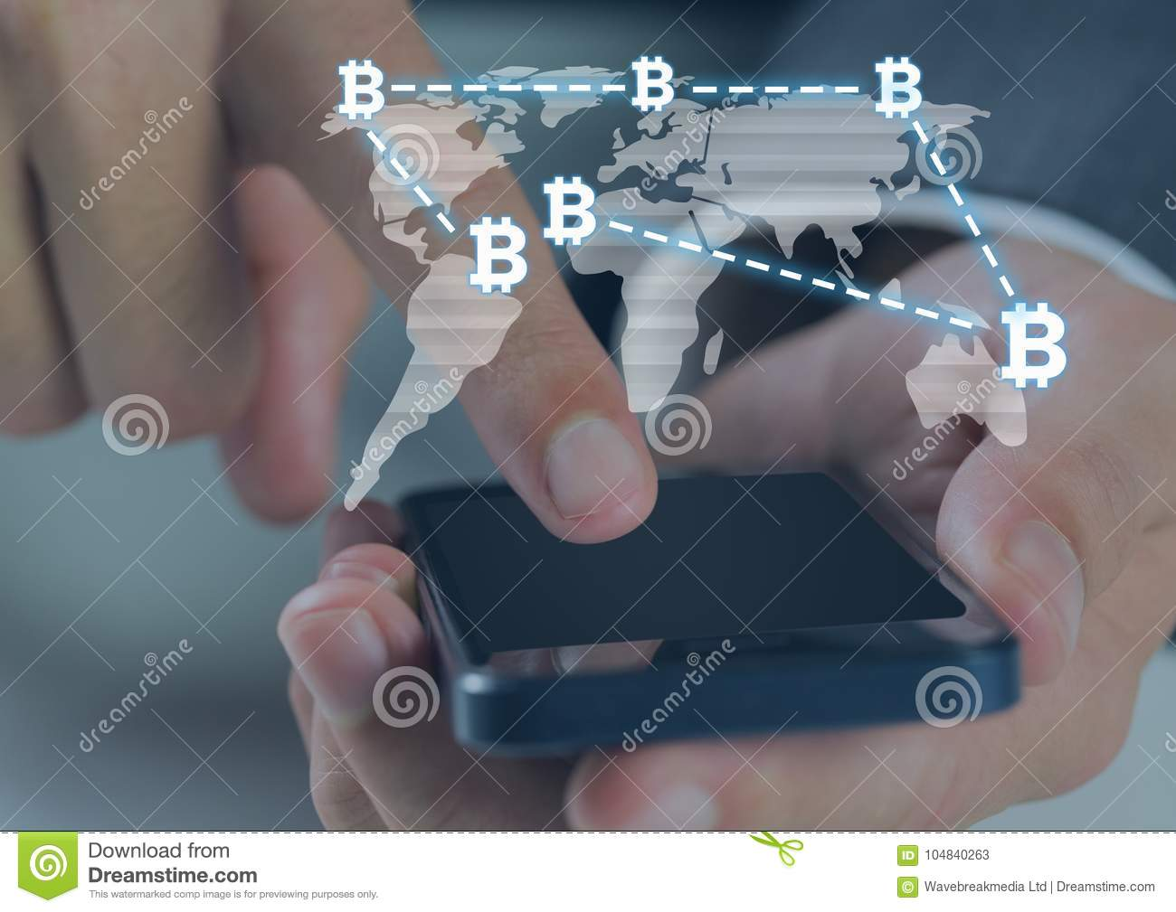 World Map On Hands.Bitcoin Icons And World Map And Hands Using Phone Stock Image