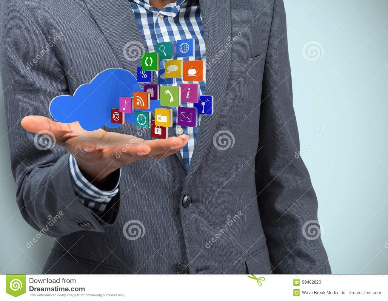 Business hand spread of with cloud and application icons. Light blue background