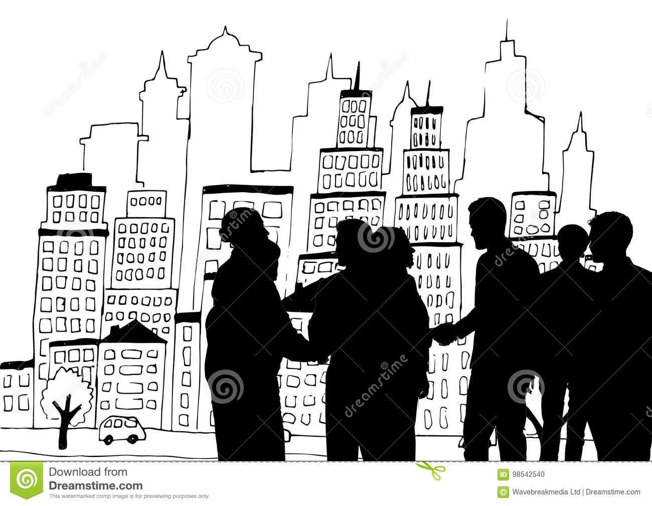 Business people silhouettes against city illustration