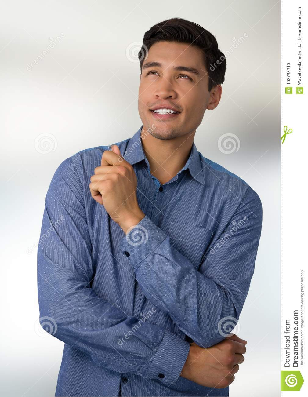 Businessman Thinking With Bright Background Stock Photo ...