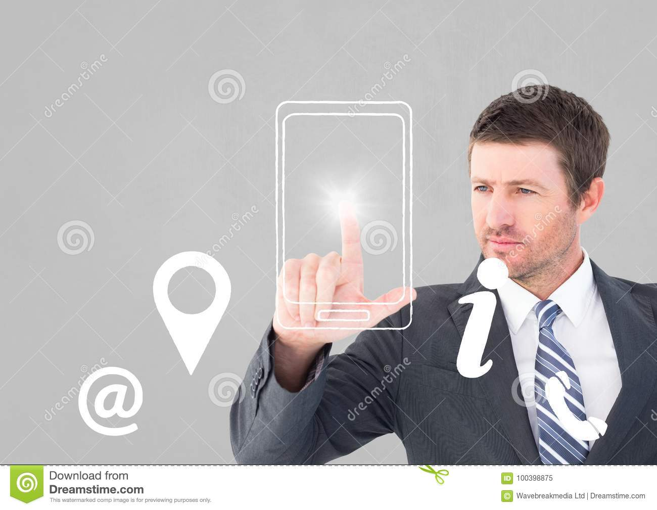 Businessman Using Contact Icon Interface Stock Image ...