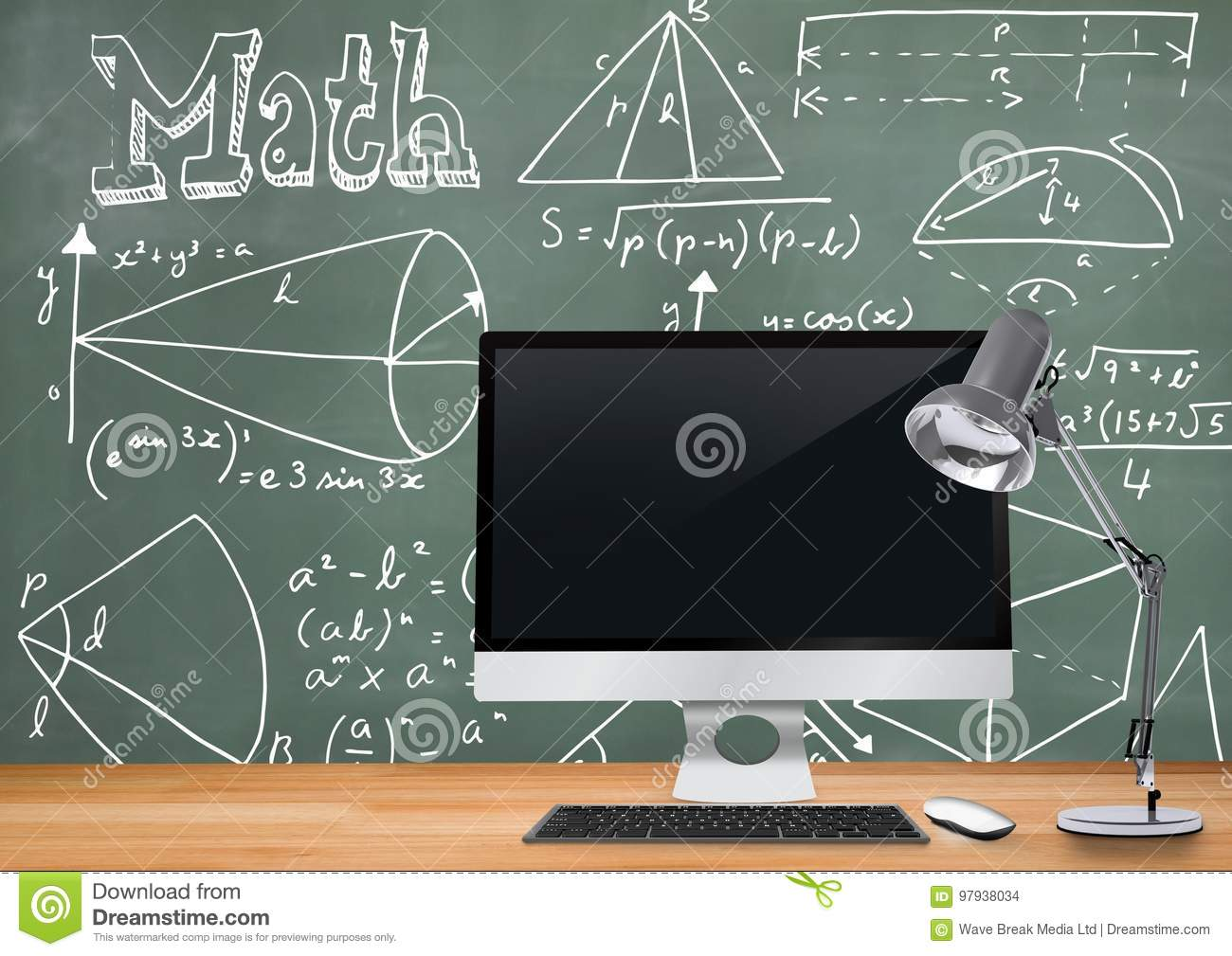 Computer desk foreground with blackboard graphics of math diagrams download comp ccuart Images