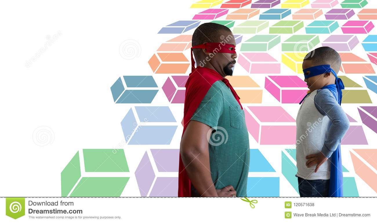 Father and son superheroes with colorful geometric pattern