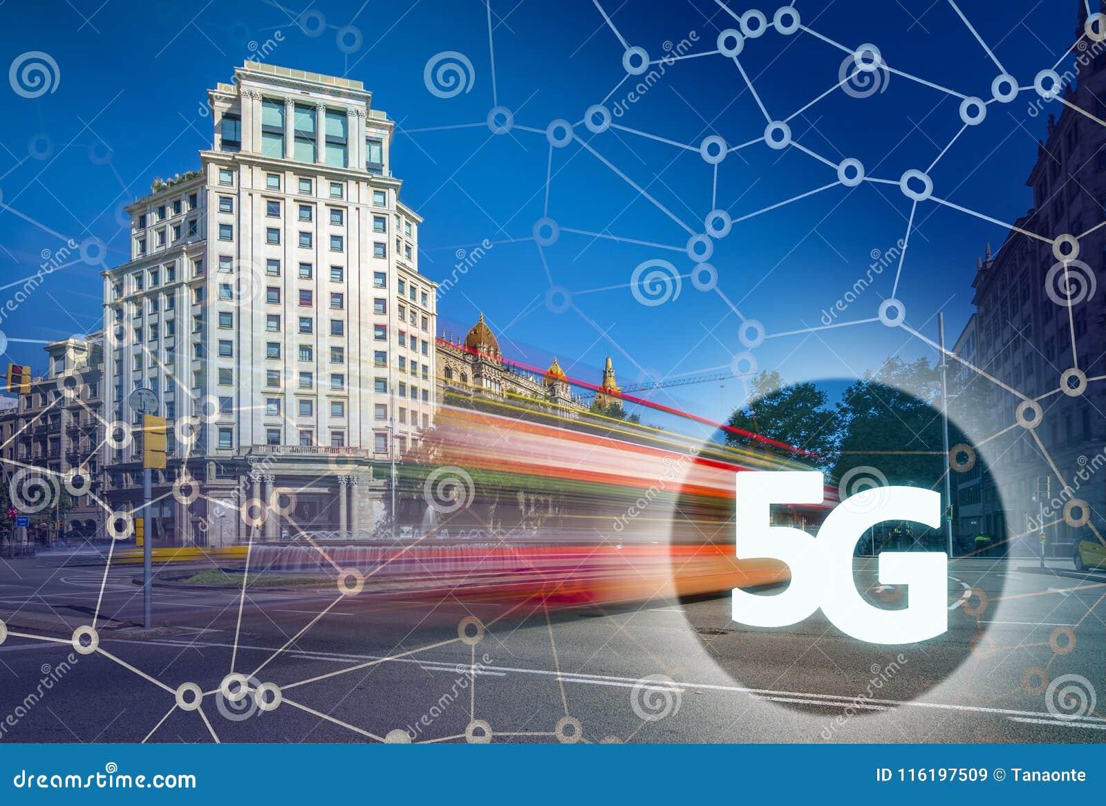 5G Or LTE Presentation  Barcelona Modern City On The