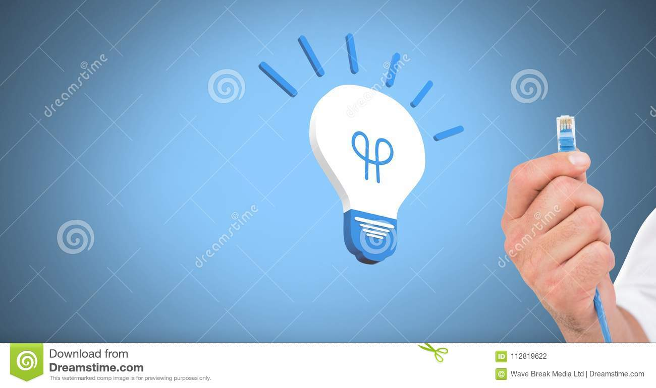 Hand Holding Wire Connection With Light Bulb Icon Stock Photo Wiring A