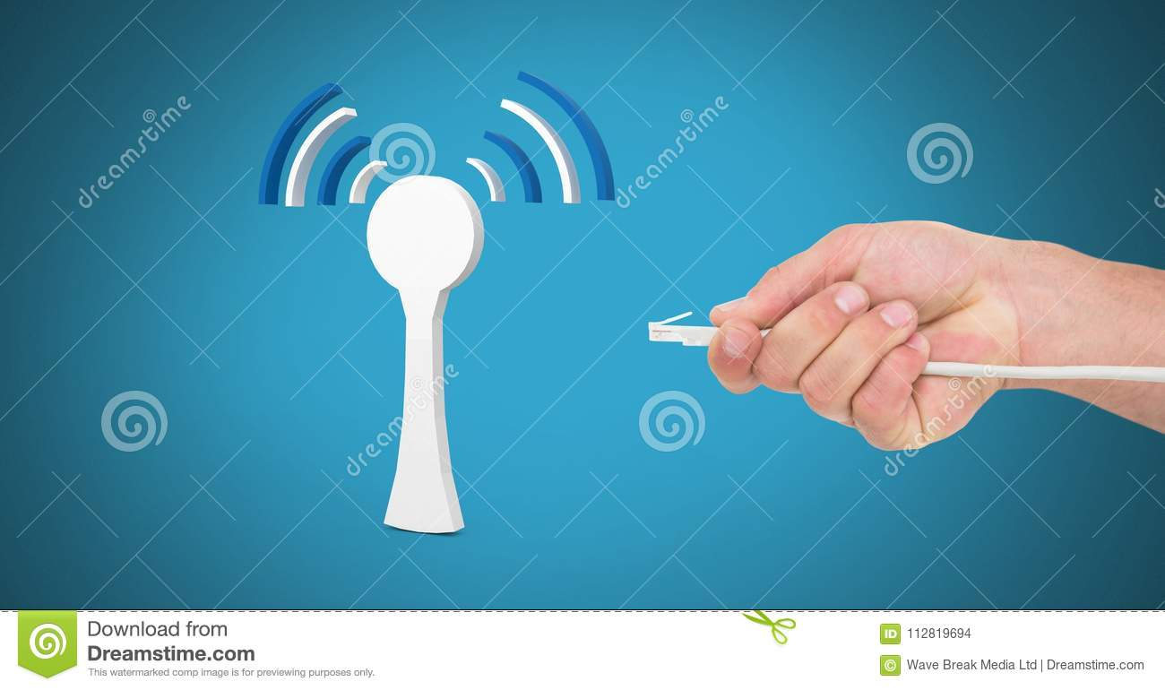 Hand Holding Wire Connection With Signal Icon Stock Photo - Image of ...