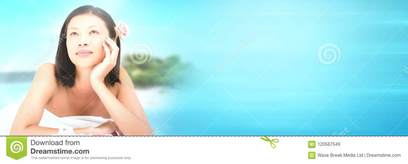 Happy spa woman relaxed with tropical paradise sea with transition