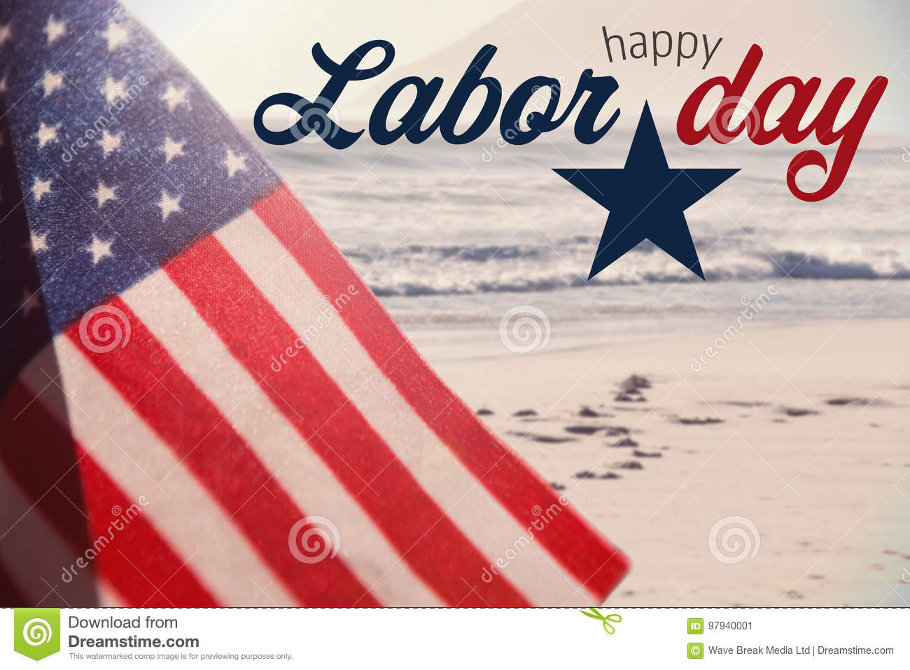 Composite image of digital composite image of happy labor day text with star shape