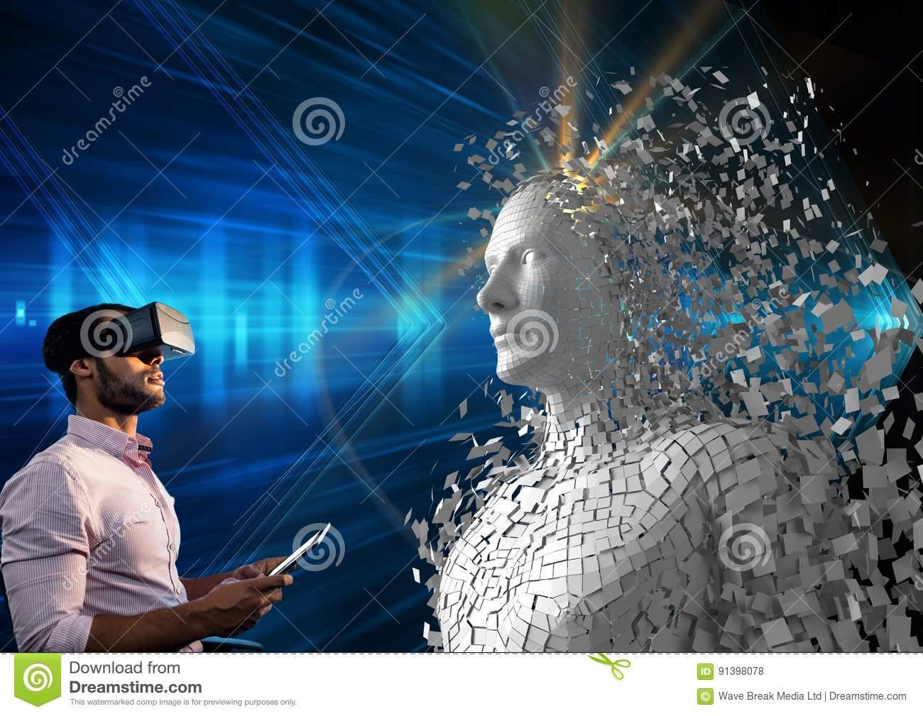 Digital composite image of man using digital tablet and VR glasses by 3d human