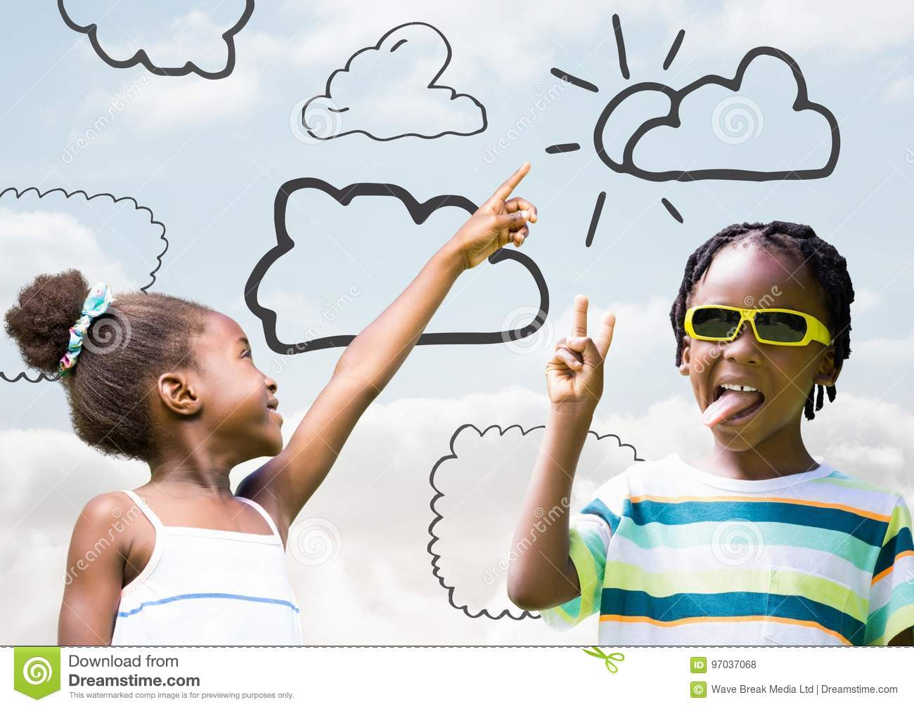 Kids pointing at sky and playing with cloud drawings