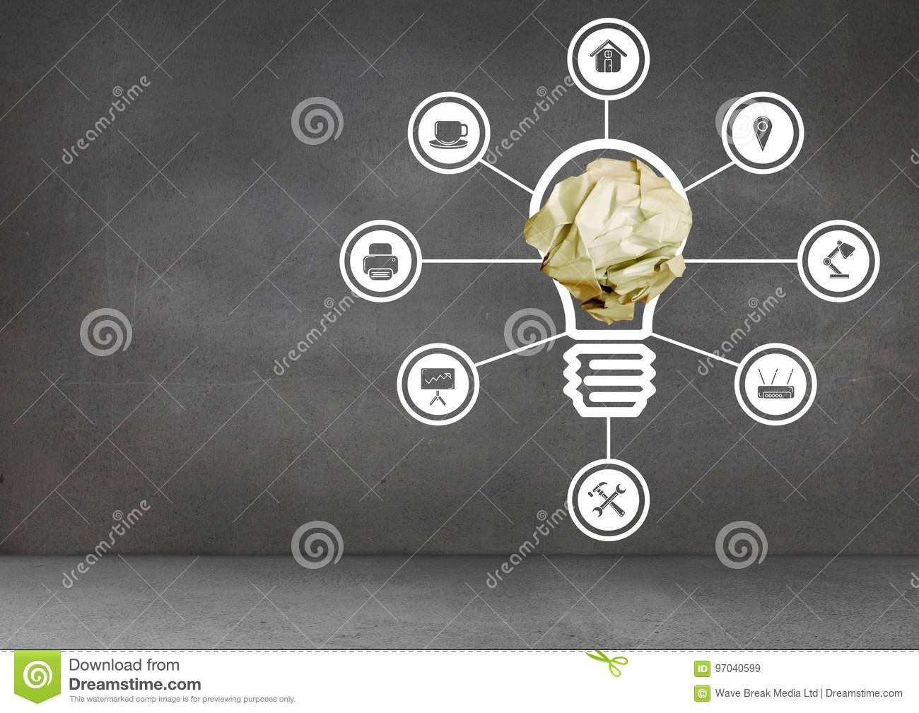 light bulb with crumpled paper ball and connections