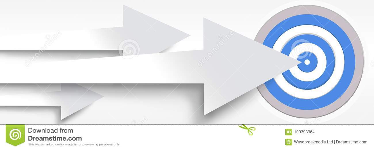 Long Arrows Pointing At Target Stock Illustration - Illustration of ...