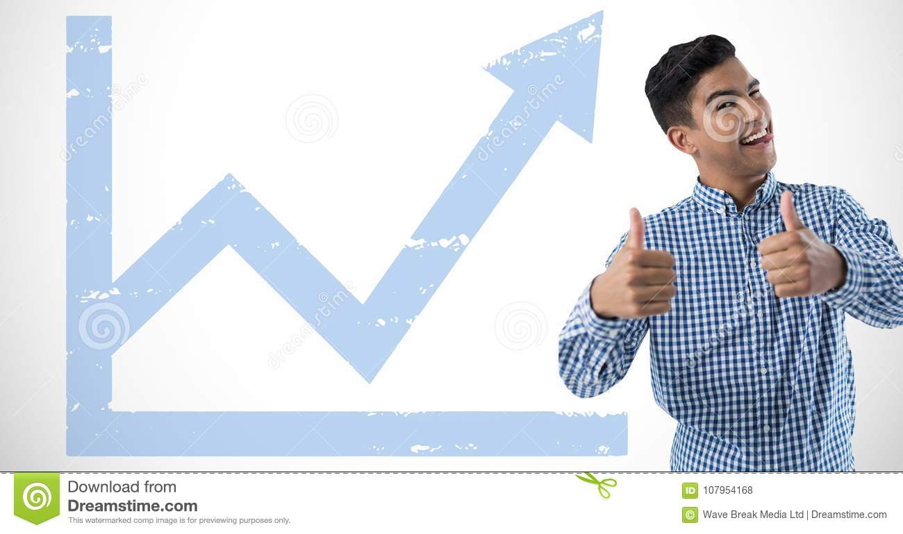 man smiling wit thumbs up and graph