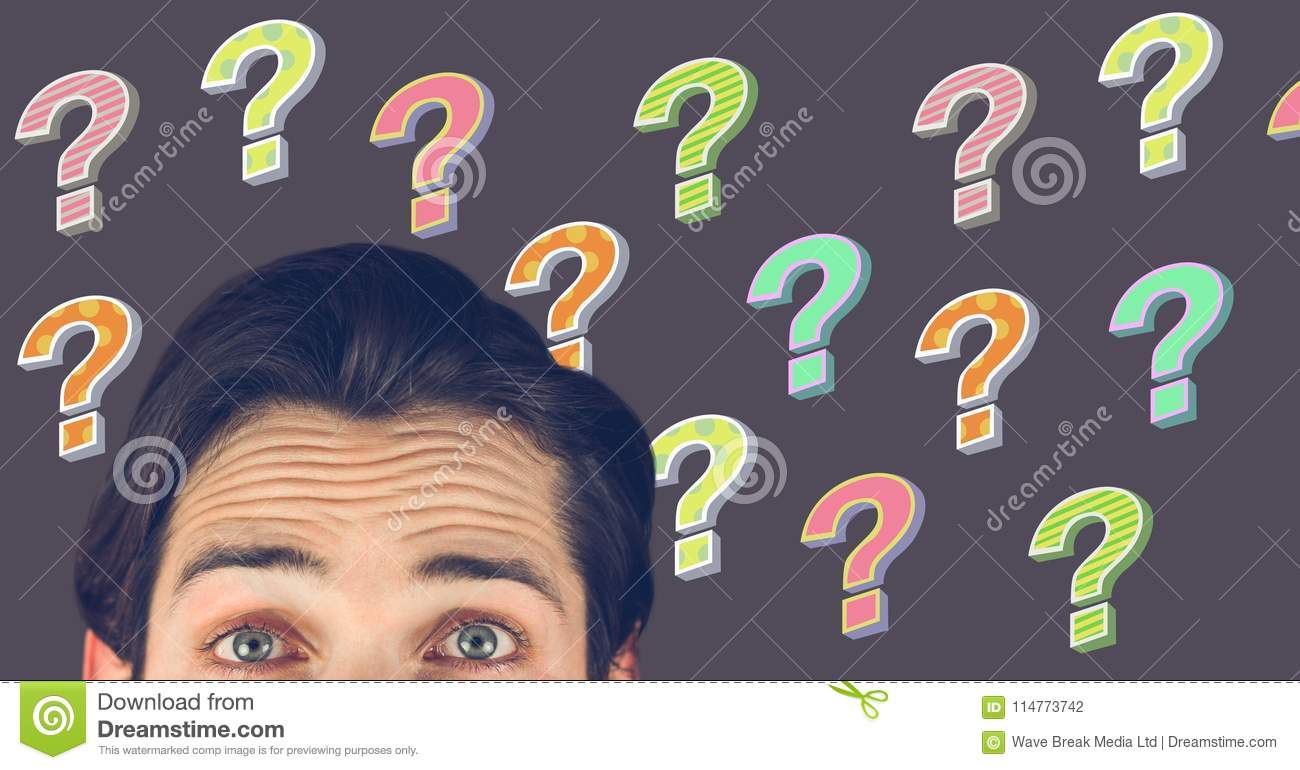 man thinking with colorful funky question marks stock illustration