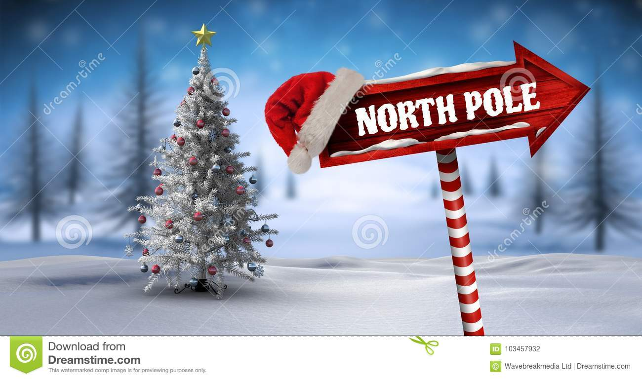 North Pole On Wooden Signpost In Christmas Winter Landscape And ...